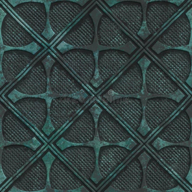 Struttura senza cuciture di rame con il modello geometrico su un fondo metallico dell'ossido royalty illustrazione gratis