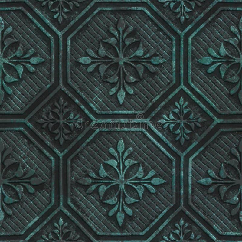 Struttura senza cuciture di rame con il modello geometrico su un fondo metallico dell'ossido illustrazione di stock