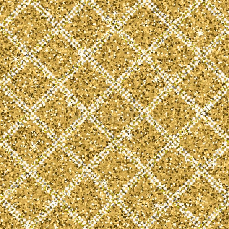 Struttura senza cuciture di scintillio dell'oro giallo con le linee diagonali d'argento Fondo di luccichio illustrazione di stock