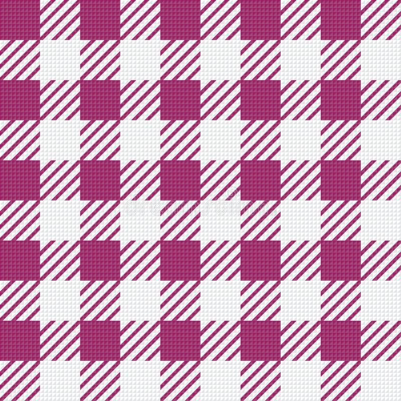 Struttura senza cuciture di vettore con l'ornamento vichy della gabbia Gabbie bianche e rosa illustrazione di stock