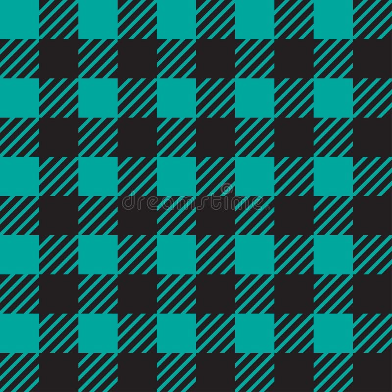 Struttura senza cuciture di vettore con l'ornamento vichy della gabbia Gabbie blu e nere illustrazione vettoriale