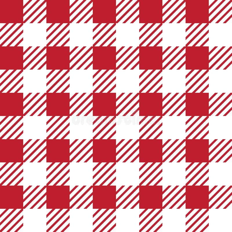 Struttura senza cuciture di vettore con l'ornamento vichy della gabbia Gabbie rosse e bianche illustrazione vettoriale