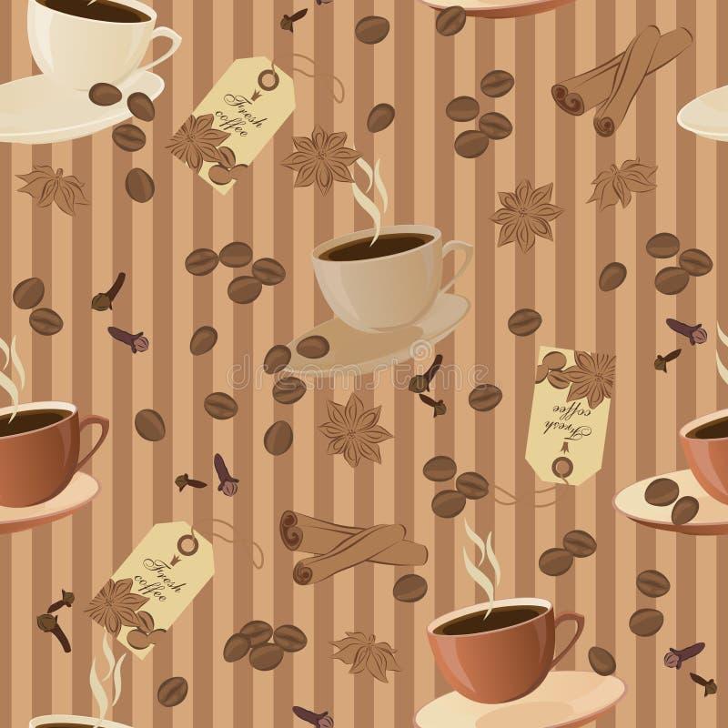 Struttura senza cuciture di vettore su un tema del caffè illustrazione vettoriale