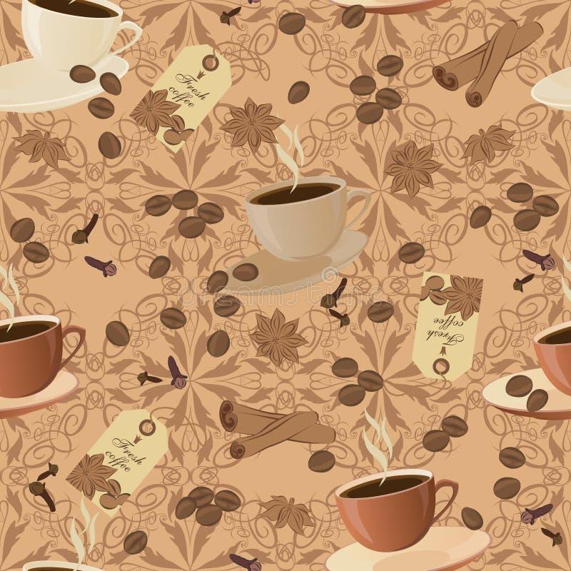 Struttura senza cuciture di vettore su un tema del caffè royalty illustrazione gratis
