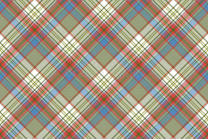 Struttura senza cuciture diagonale colorata del tessuto di stoffa per camice del plaid illustrazione vettoriale