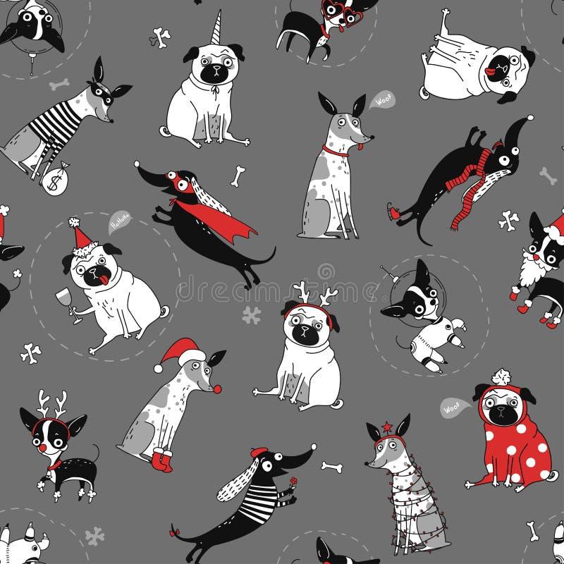 Struttura senza cuciture divertente con i cani illustrazione vettoriale