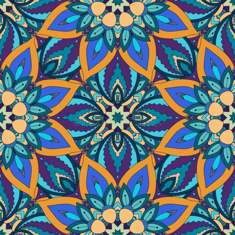 Struttura senza cuciture floreale decorata, modello senza fine con gli elementi d'annata della mandala royalty illustrazione gratis