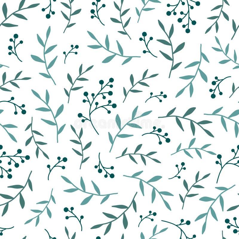 Struttura senza cuciture floreale del modello con i ramoscelli e le foglie blu delle bacche Priorità bassa bianca Illustrazione d illustrazione di stock