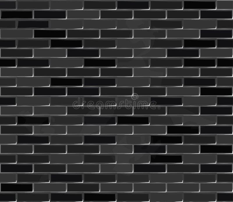 Struttura senza cuciture nera del muro di mattoni illustrazione vettoriale