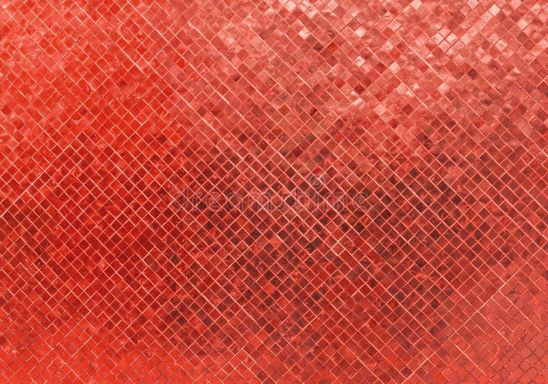Struttura senza cuciture rossa brillante di lusso astratta del fondo del mosaico del modello di Tone Wall Flooring Tile Glass per fotografia stock libera da diritti