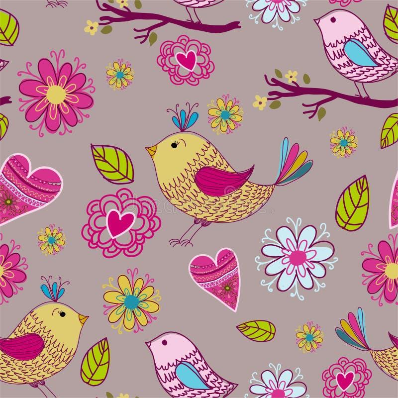 Struttura senza giunte con i fiori e gli uccelli illustrazione vettoriale