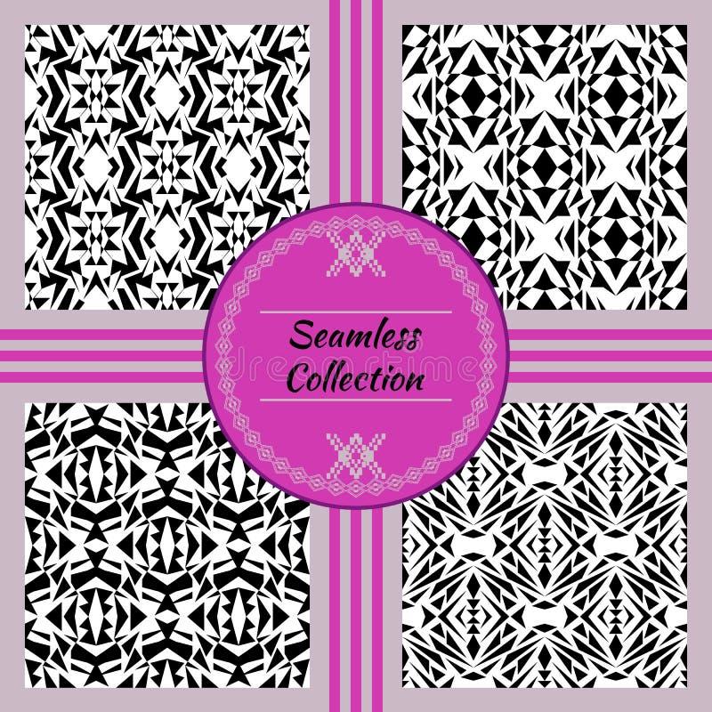 Struttura senza giunte di vettore Insieme dei modelli decorativi in bianco e nero tribali per progettazione Stile ornamentale azt illustrazione vettoriale