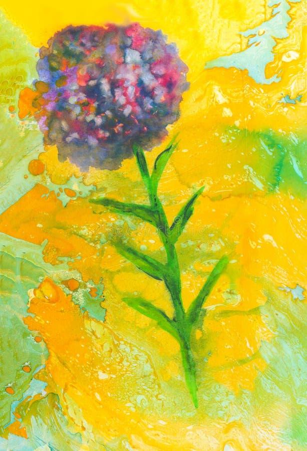 Struttura simmetrica di marmo creativa Fondo dipinto a mano vibrante dell'acquerello Sovrapposizione d'annata floreale Colorf cao royalty illustrazione gratis
