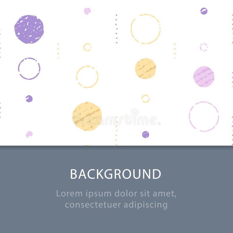 Struttura sottile di lerciume, fondo con i cerchi, contesto astratto d'annata, modello minimalista, decorazione festiva illustrazione di stock