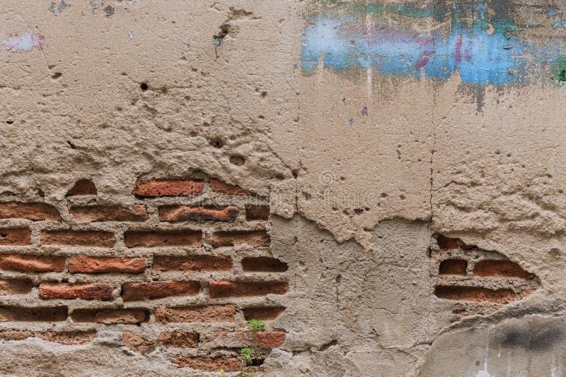 Struttura sporca della costruzione di lerciume del vecchio muro di mattoni della crepa fotografia stock libera da diritti