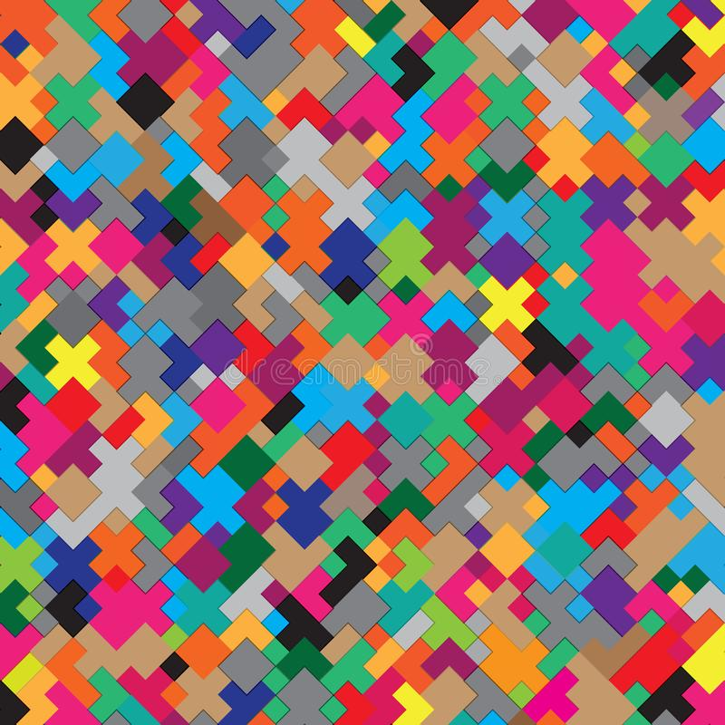 Struttura stilizzata del modello del fondo del retro di colori dell'oggetto mattone geometrico di Tetris illustrazione di stock