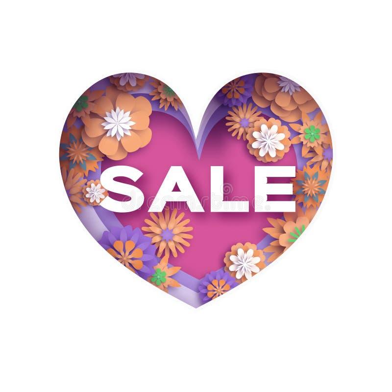 Struttura stratificata cuore Insegna rosa di Violet Love Sale nello stile del taglio della carta Cartolina d'auguri felice di gio illustrazione di stock