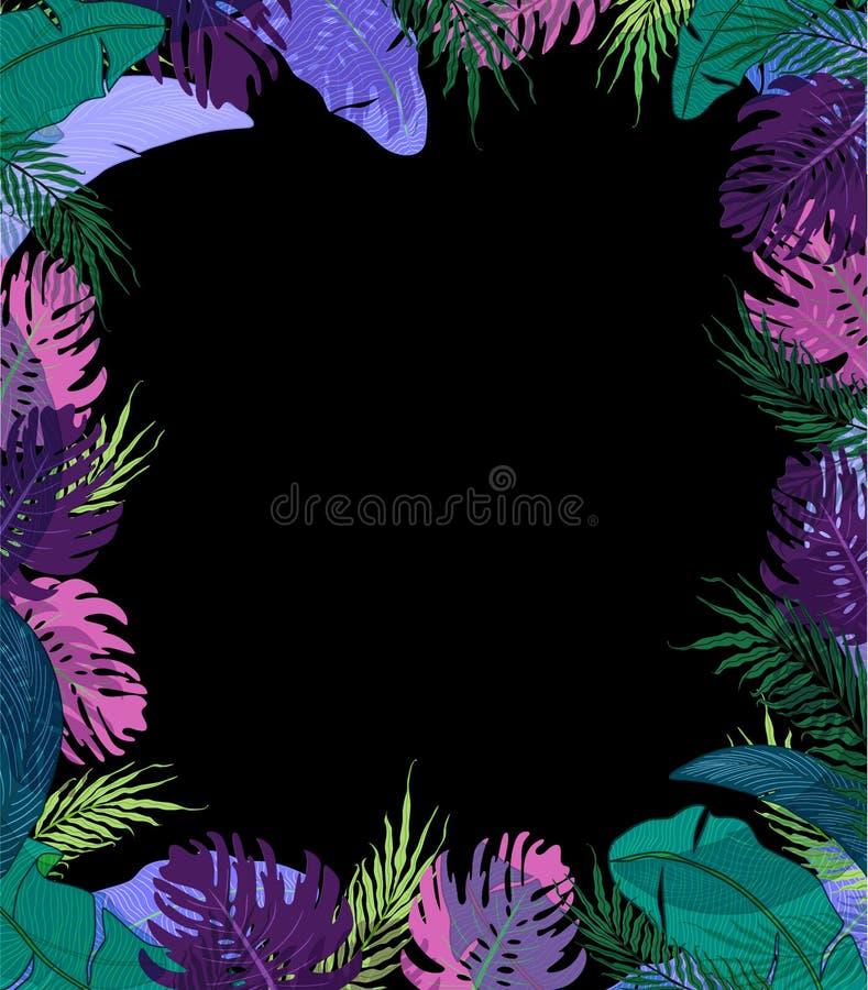 Struttura sveglia con le foglie tropicali di estate illustrazione di stock