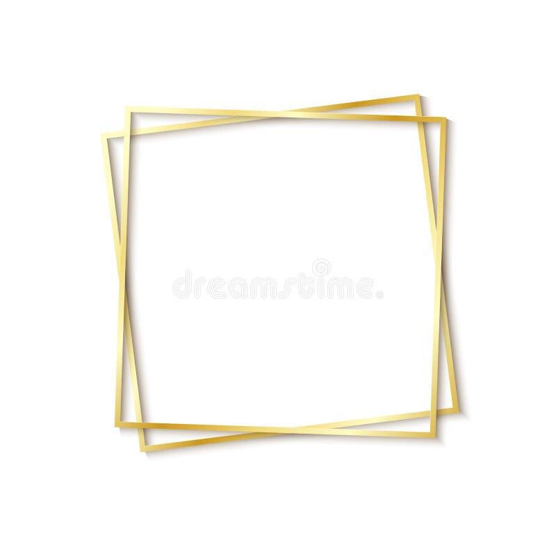 Struttura tagliata di carta dell'oro con ombra realistica Una bugia quadrata propensa dorata una di due strutture su un altro Sch royalty illustrazione gratis