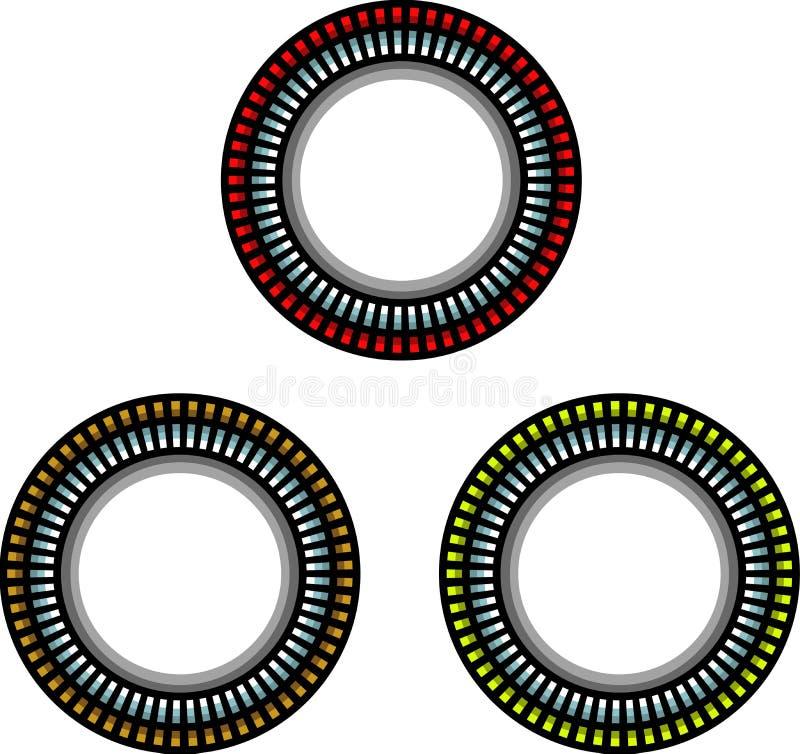 Struttura techna d'acciaio dell'anello con ombra sopra bianco illustrazione vettoriale