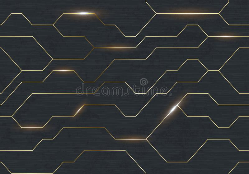 Struttura techna del ferro scuro futuristico senza cuciture di vettore Linea astratta dorata di energia di elettrone sul fondo ne illustrazione vettoriale
