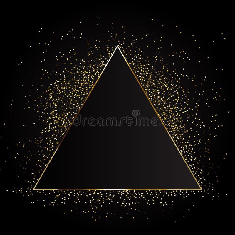 Struttura triangolare del fuoco magico dorato Illustrazione di vettore fondo dorato del triangolo Illustrazione di vettore royalty illustrazione gratis