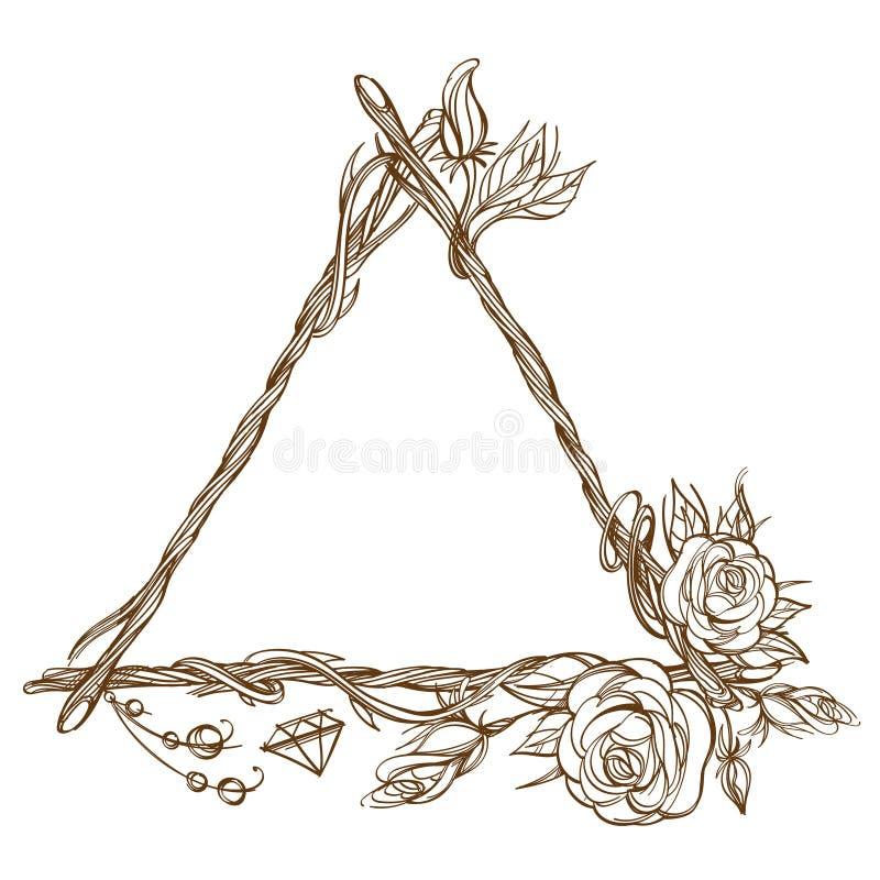 Struttura triangolare fatta dei rami con le rose ed i germogli di fiore Elemento decorativo del profilo per la progettazione nell royalty illustrazione gratis