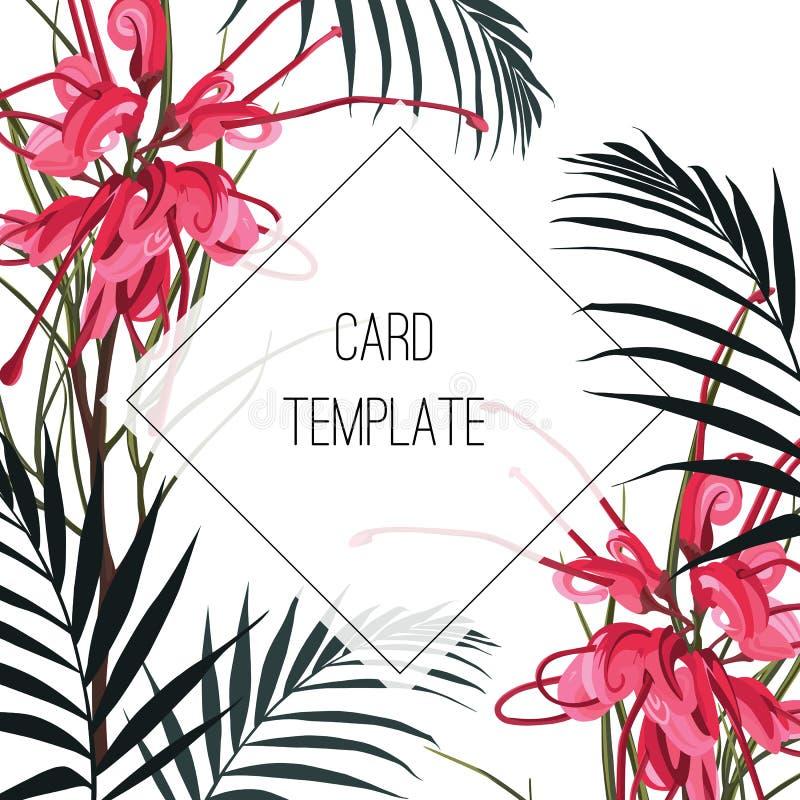 Struttura tropicale variopinta verde del quadrato di progettazione di vettore Fiori e foglie di palma rossi del protea royalty illustrazione gratis
