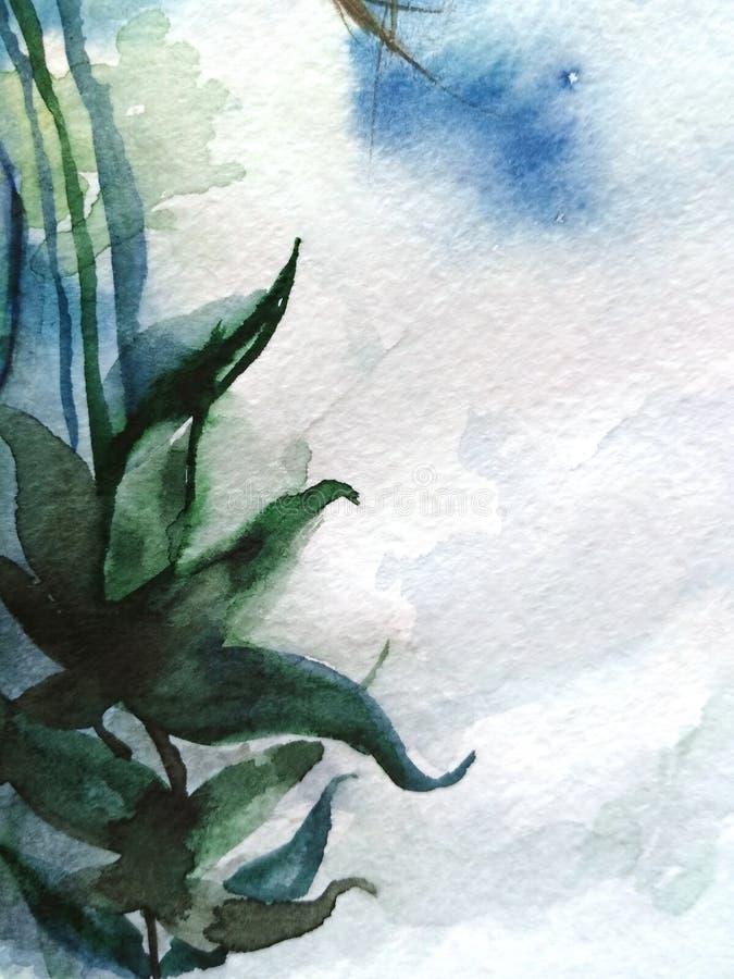 Struttura verde astratta del fondo di bianco grigio dei blu navy della pianta del ramo della foglia dell'acquerello illustrazione di stock