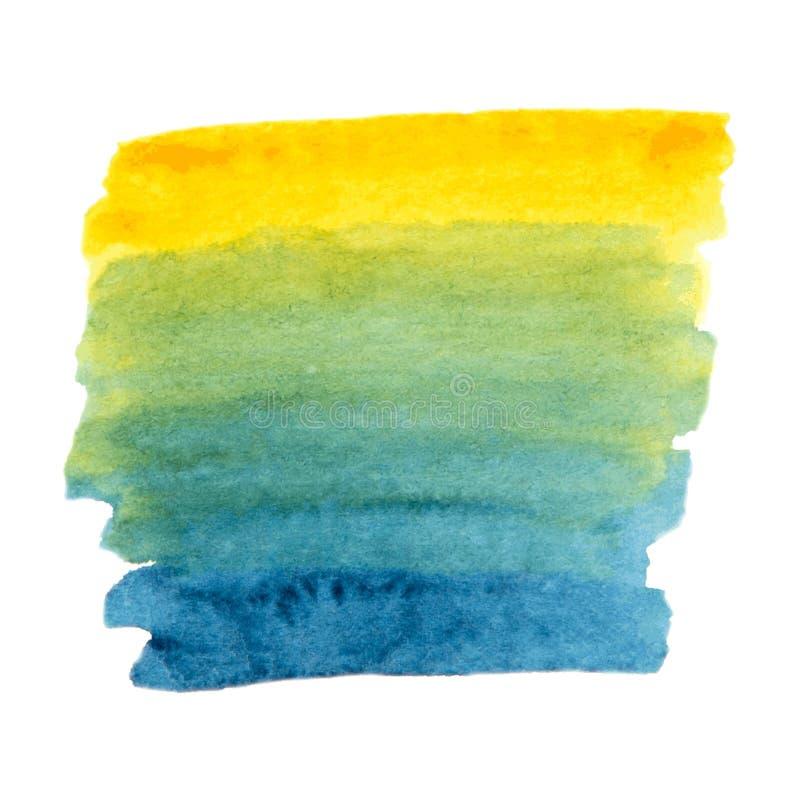 Struttura verde di vettore e gialla blu della pittura isolata sull'insegna bianco- dell'acquerello per la vostra progettazione immagini stock