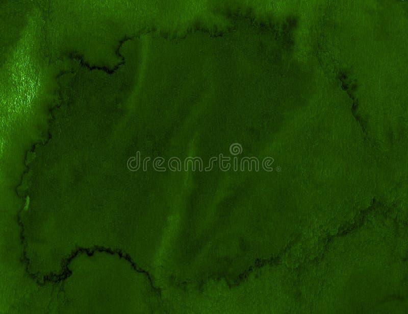Struttura verde scuro dell'acquerello con i colpi lacerati e le bande Fondo astratto per progettazione, disposizioni illustrazione di stock