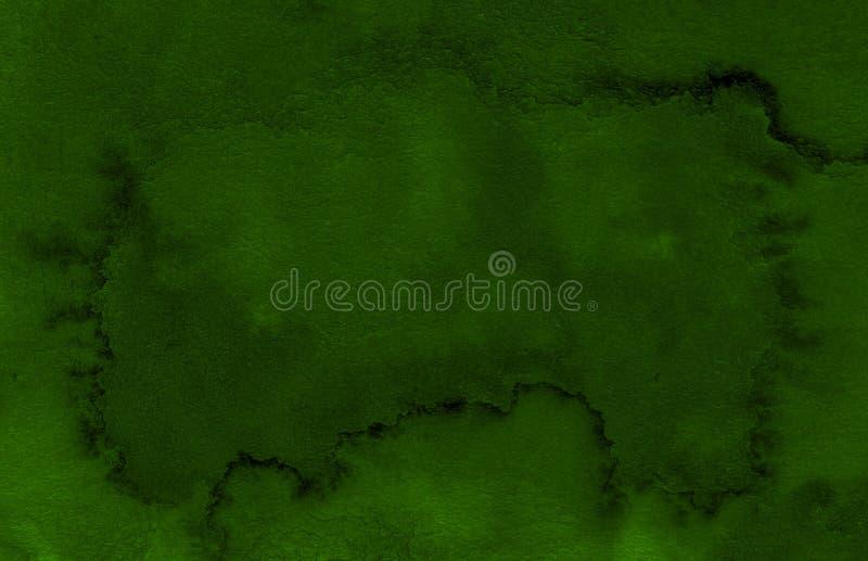 Struttura verde scuro dell'acquerello con i colpi lacerati e le bande Fondo astratto per progettazione, disposizioni illustrazione vettoriale