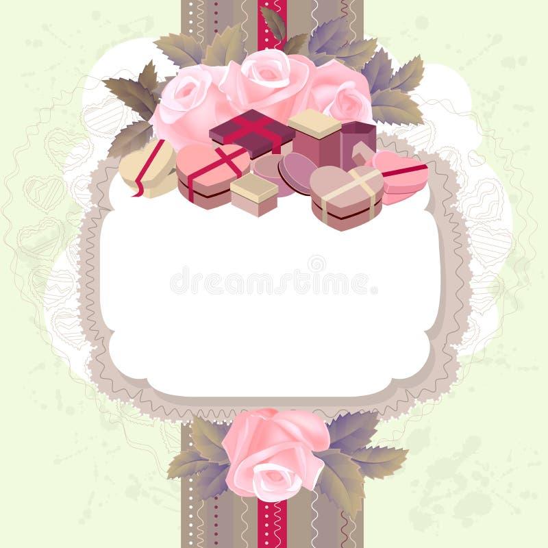 Struttura verticale bianca con i rami delle rose rosa royalty illustrazione gratis