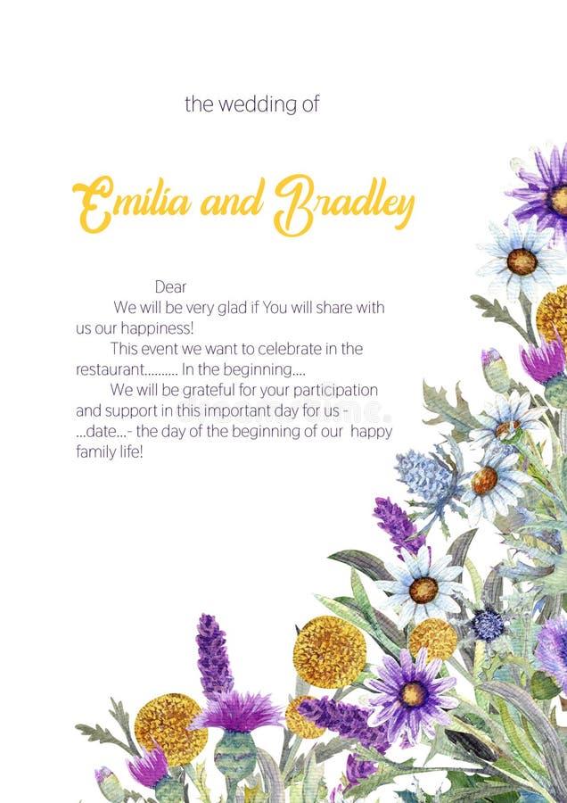 Struttura verticale di nozze dei fiori selvaggi watercolor disposizione dei fiori Progettazione del modello della cartolina d'aug illustrazione di stock