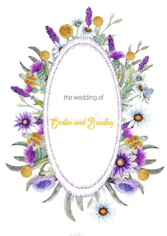 Struttura verticale di nozze dei fiori selvaggi watercolor disposizione dei fiori Progettazione del modello della cartolina d'aug illustrazione vettoriale
