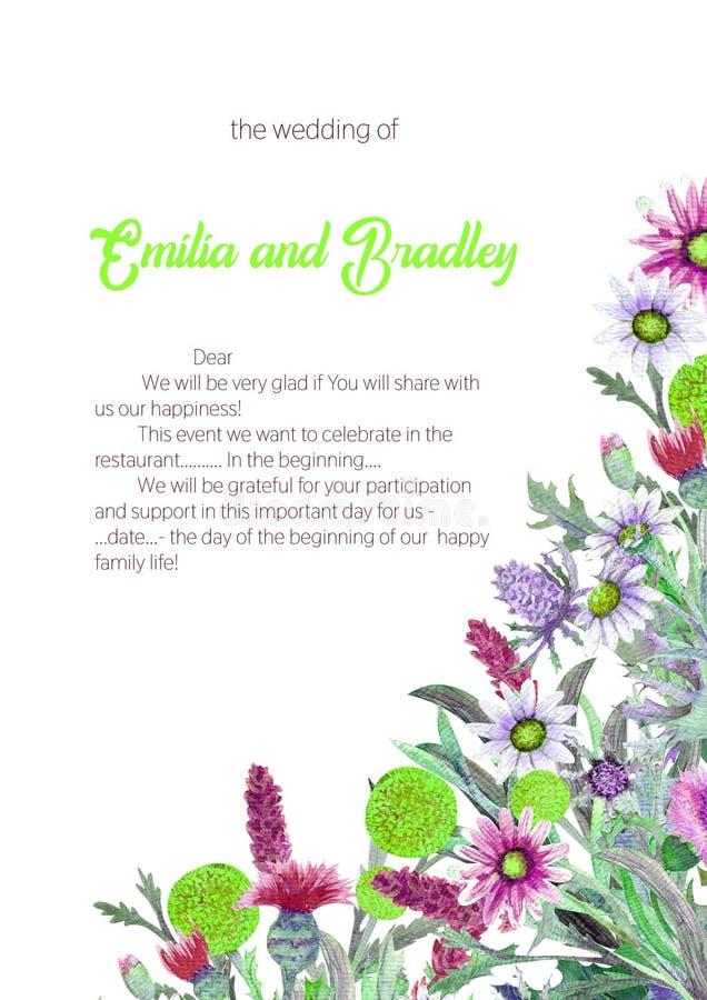 Struttura verticale di nozze dei fiori selvaggi watercolor disposizione dei fiori Progettazione del modello della cartolina d'aug royalty illustrazione gratis