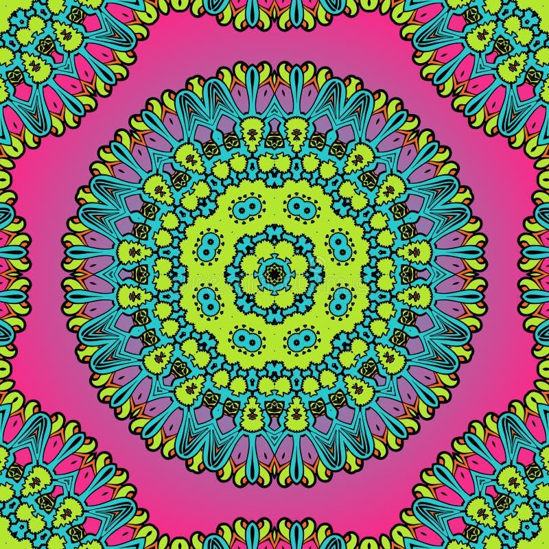 Struttura viola e verde della mandala per l'insegna illustrazione vettoriale