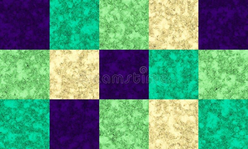 Struttura viola, verde smeraldo, verde e crema del marmo di colore, modello delle mattonelle royalty illustrazione gratis