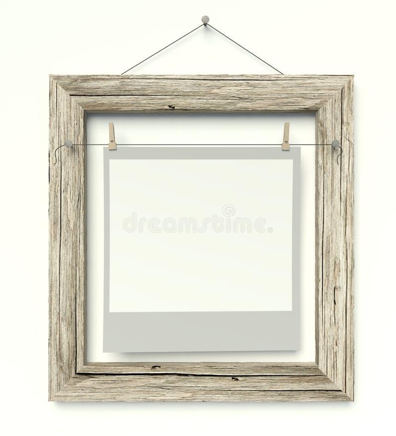 Struttura vuota con la foto in bianco, bianco isolato fotografie stock libere da diritti
