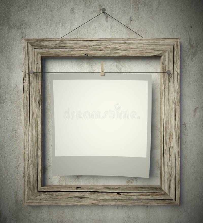 Struttura vuota con la foto in bianco, fondo d'annata fotografie stock