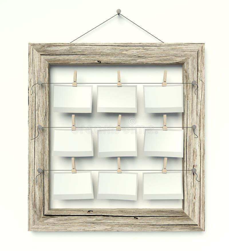 Struttura vuota con le foto in bianco, bianco isolato fotografia stock libera da diritti