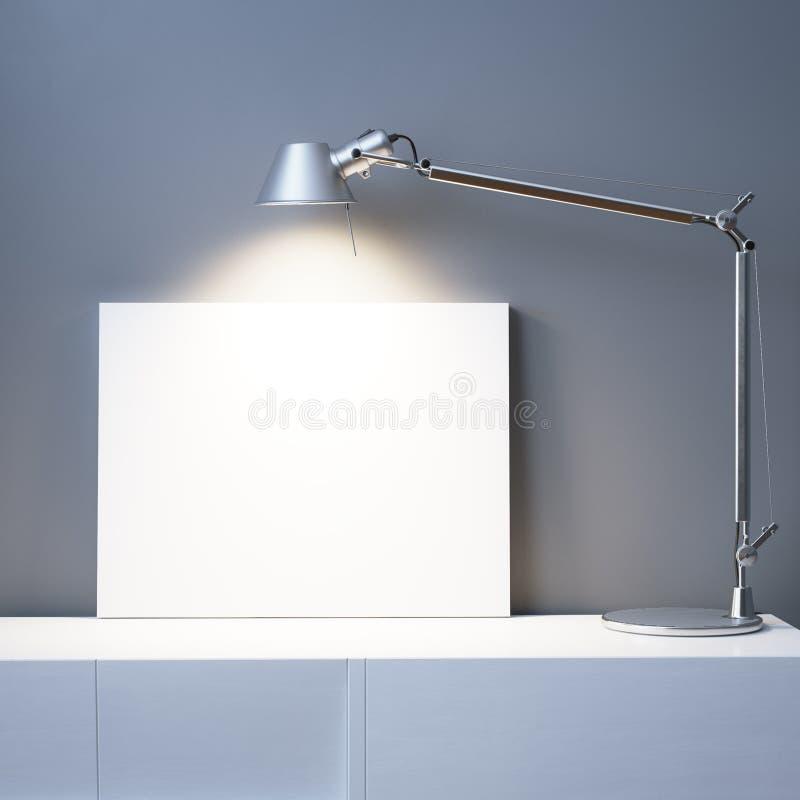Struttura vuota sotto la lampada nell'interno dell'ufficio fotografia stock libera da diritti