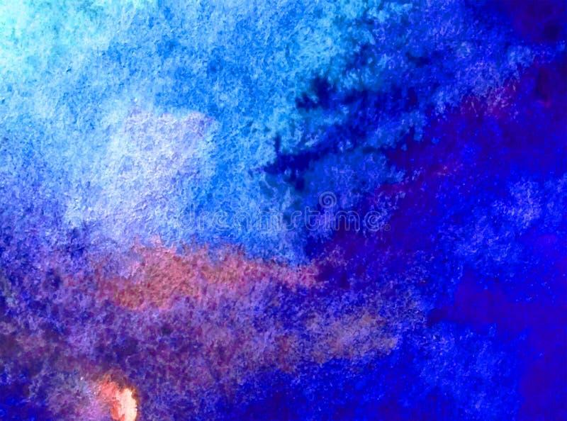 Strutturati variopinti blu dell'acqua di mare dell'oceano dell'estratto del fondo di arte dell'acquerello hanno bagnato la decora illustrazione di stock