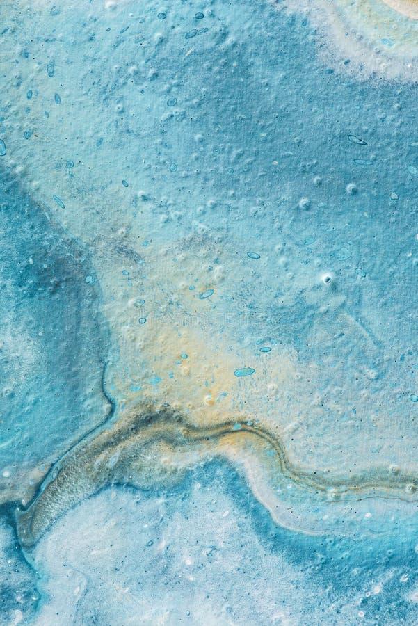 strutturato blu-chiaro e giallo astratto di olio immagini stock