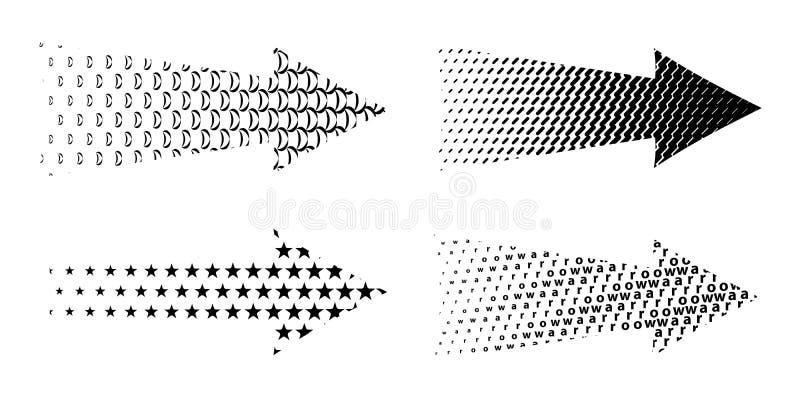 Strutturato stabilito della freccia Frecce nere di vari simboli royalty illustrazione gratis