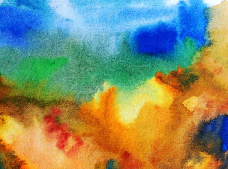 Strutturato variopinto dell'estratto del fondo di arte dell'acquerello fotografie stock libere da diritti