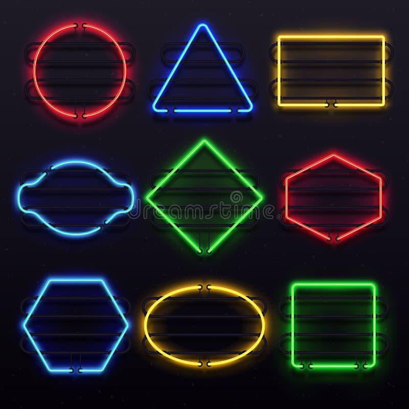 Strutture al neon d'ardore realistiche Struttura viva della lampada della luce elettrica sullo scaffale Luci dell'insieme variopi illustrazione vettoriale