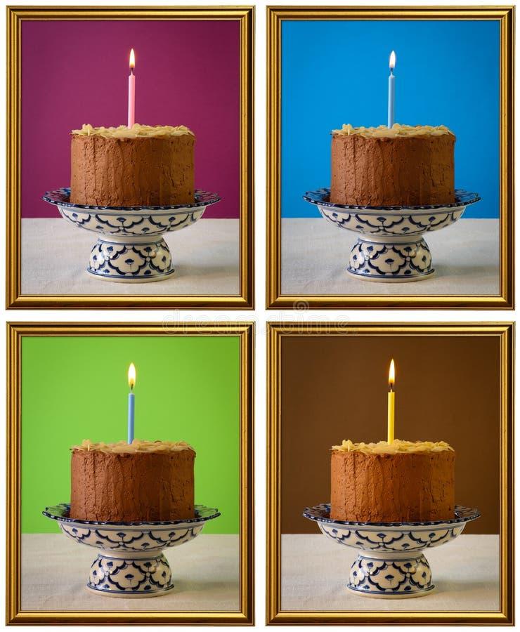 Strutture brucianti della candela della torta di compleanno del cioccolato immagini stock