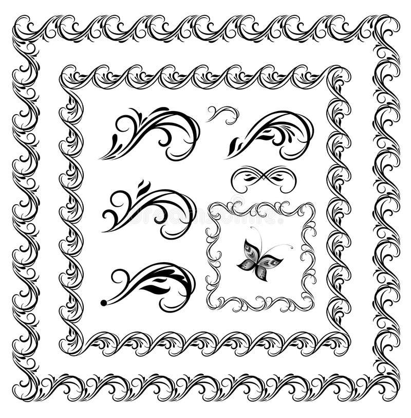 Strutture calligrafiche d'annata, confini ed elementi di progettazione per progettazione di nozze ed araldica, etichette di modo, illustrazione di stock