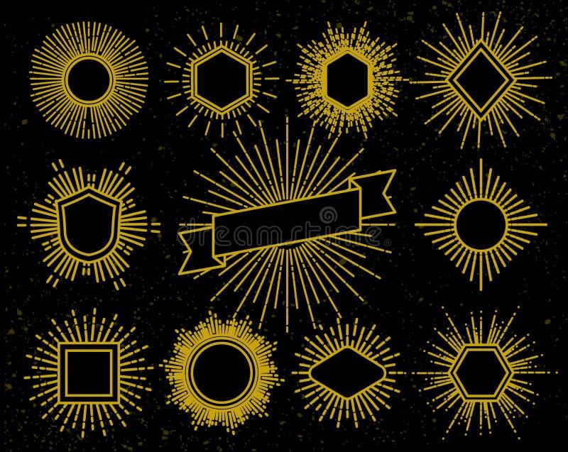 Strutture d'annata dei pantaloni a vita bassa con gli elementi del raggio luminoso e dello sprazzo di sole illustrazione vettoriale